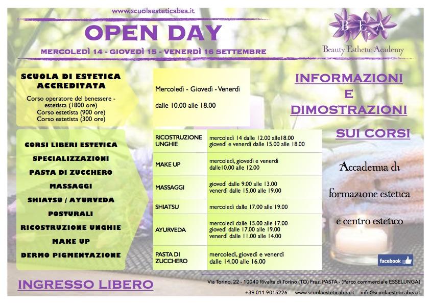 open day a settembre con dimostrazioni e informazioni